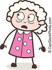 表現, イラスト, 顔, ベクトル, 祖母, 怖がらせられた, 漫画