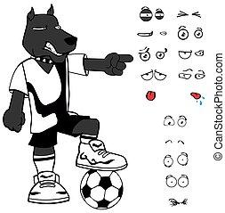 表現, サッカー, セット, 犬, 漫画