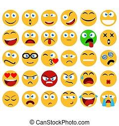 表現, ベクトル, コレクション, 大きい, 微笑, 面白い, design., emojis, minimalistic, emoticons, アイコン, セット, 平ら, 愚か, 抽象的, 美顔術