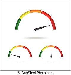 表示器, セット, 単純である, シンボル, 部分, 黄色, 回転速度計, ベクトル, 緑, 測定, アイコン, ...