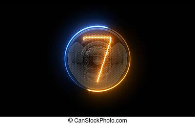 表示器, 表示器, 7., nixie, digit., 3d., 3d, チューブ, ディジット, seven., ガス, 解任, lamps., レンダリング