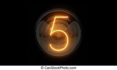 表示器, 表示器, nixie, digit., 3d, 3d., チューブ, ディジット, ガス, 解任, lamps., five., 5, レンダリング
