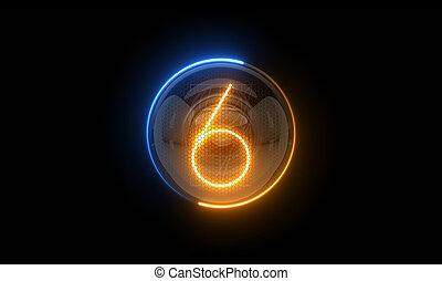 表示器, 表示器, nixie, digit., 3d, 3d., チューブ, ディジット, ガス, six., 解任, 6., lamps., レンダリング