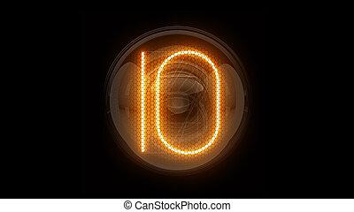表示器, 表示器, nixie, digit., 3d, 3d., チューブ, ten., ディジット, ガス, 解任, 10., lamps., レンダリング