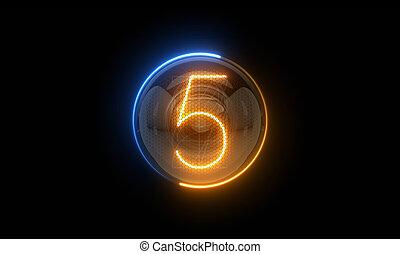 表示器, 表示器, nixie, digit., 3d, 3d., 5., チューブ, ディジット, ガス, 解任, lamps., five., レンダリング