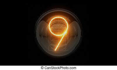表示器, 表示器, nixie, digit., 3d, 3d., 9., チューブ, ディジット, ガス, 解任, nine., lamps., レンダリング