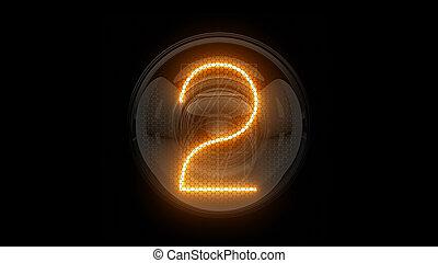 表示器, 表示器, nixie, digit., 3d, 3d., two., チューブ, ディジット, ガス, 解任, 2., lamps., レンダリング