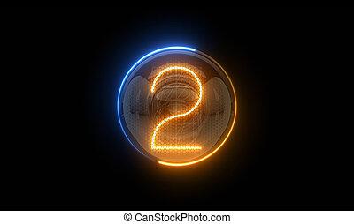 表示器, 表示器, nixie, digit., 3d, 3d., two., 2, チューブ, ディジット, ガス, 解任, lamps., レンダリング