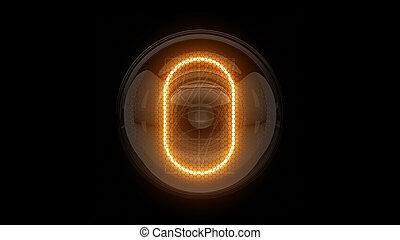 表示器, 表示器, nixie, digit., 3d, zero., 3d., チューブ, ディジット, ガス, 解任, 0., lamps., レンダリング
