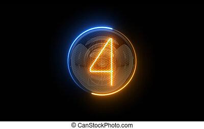 表示器, 表示器, nixie, digit., 4., 3d., 3d, four., チューブ, ディジット, ガス, 解任, lamps., レンダリング