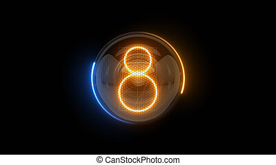 表示器, 表示器, nixie, digit., eight., 3d., 3d, チューブ, ディジット, ガス, 解任, lamps., 8., レンダリング