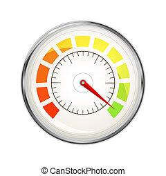 表示器, 金属, グロッシー, 測定, パフォーマンス, 白, 速度計, アイコン