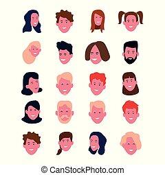 表面人々, セット, 漫画, 幸せな微笑すること