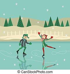 表面, 男の子, スケート, 女の子, 氷, ベクトル