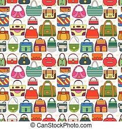 袋子, 不同, 婦女, seamless, 圖案