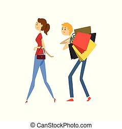 袋子, 他的, 购物, 妻子, 描述, henpecked, 矢量, 背景, 跟随, 有负载, 白色, 人, 卡通漫画, 人