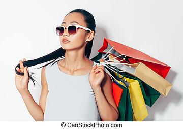 袋子, 妇女购物, 亚洲人, 肖像, 太阳镜, 有吸引力
