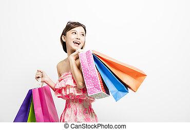 袋子, 妇女购物, 年轻, 微笑高兴