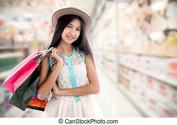 袋子, 妇女购物, 年轻, 超级市场, 背景blurry