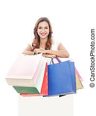袋子, 妇女购物, 携带, 板, 白色