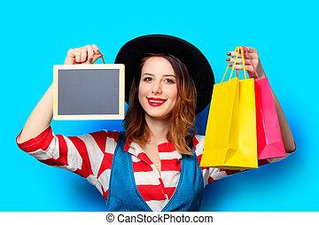 袋子, 妇女购物, 板