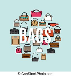 袋子, 形狀, 環繞, 卡通, 圖象