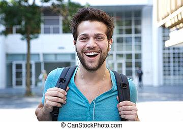 袋子, 微笑人, 年轻, 漂亮