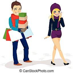 袋子, 携带, 购物, 男朋友