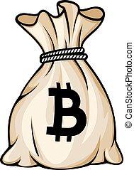 袋子, 由于, bitcoin, 簽署, 矢量, 插圖