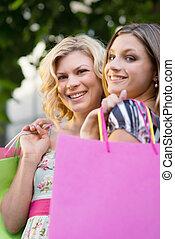 袋子, 购物, 二, 女性, 微笑, 朋友