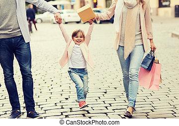 袋子, 购物, 家庭, 城市, 孩子, 开心