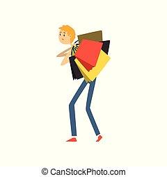 袋子, 购物, 描述, 矢量, 背景, 有负载, 白色, 卡通漫画, 人