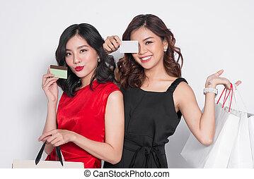 袋子, 购物, 握住, 年轻, 二, 信用, 有吸引力, 背景, 白色, 妇女, 卡片, 开心