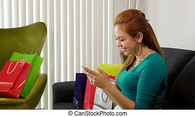 袋子, 购物, 移动电话, latina, 键入, 女孩