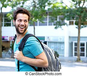 袋子, 走, 人, 微笑, 在户外