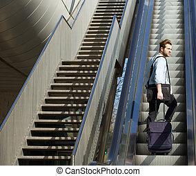 袋子, 走, 自动楼梯, 旅行, , 人, 漂亮