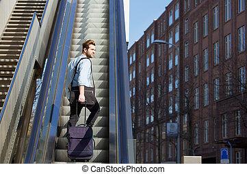袋子, 走, 自动楼梯, 旅行, , 年轻人