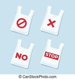 袋, いいえ, set., アイコン, プラスチック, サイン