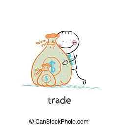 袋, お金, 抱き合う, 取引しなさい