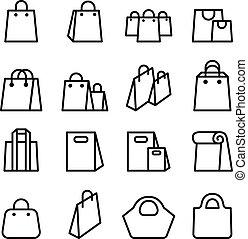 袋, アイコン, セット, 中に, 薄いライン, スタイル