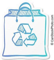 袋, アイコン, リサイクルしなさい, -, ステッカー, シンボル, ペーパー, スタイル