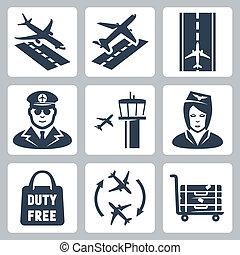 袋, カート, タワー, 着陸, 離陸, 制御, set:, パイロット, ベクトル, スチュワーデス, アイコン, 離着陸場, 空港, free', 'duty, 滑走路, 手荷物, 移動, 買い物