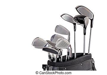 袋, クラブ, ゴルフ, ぐっと近づいて