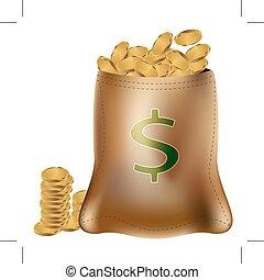 袋, コイン, 金
