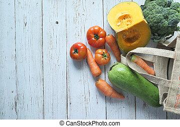 袋, コピースペース, 新鮮な野菜, 買い物