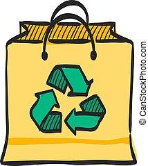 袋, シンボル, スケッチ, ペーパーを彩色しなさい, アイコン, リサイクルしなさい