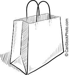 袋, スケッチ, 買い物