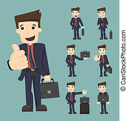 袋, セット, ビジネスマン