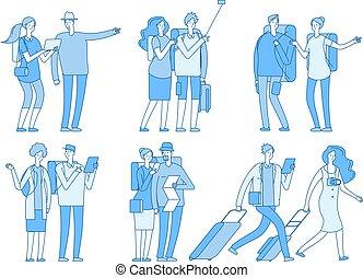 袋, セット, 恋人, 観光客, 家族, スーツケース, 旅行, 人々, 休暇, characters., holiday., ベクトル, 夏, 旅行する, 漫画, ヨーロッパ