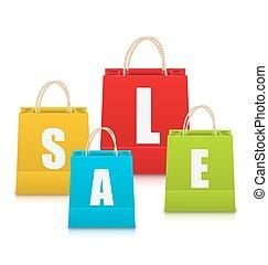 袋, セット, 買い物, カラフルである, セール, 隔離された